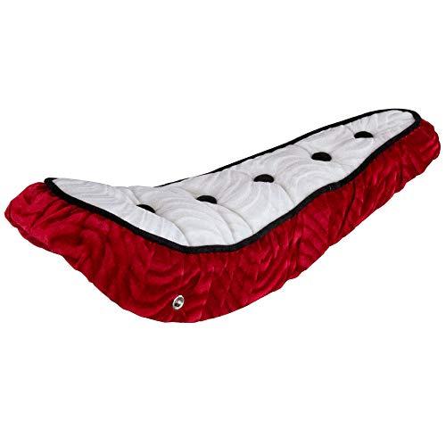 Fenix Lowrider 5 Button Polo Velour Banana Bike Saddle/Seat, (White Top/Red)