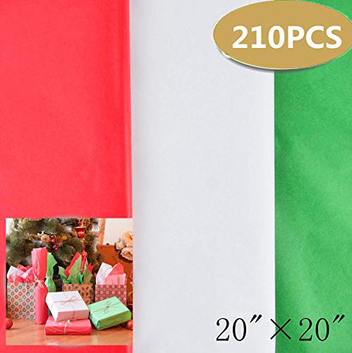 210 Sheets Christmas Kraft Tissue Paper Gift Wrapping Accessory for Christmas Gifts and Wine Bottles
