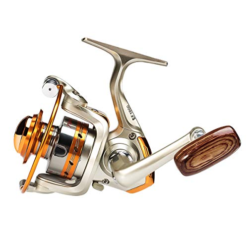 Amorly Rapid Spinning Fishing Reel with Left/Right Interchangeable Wood Handle,12 Ball Bearings Spinning Reels for Freshwater Saltwater