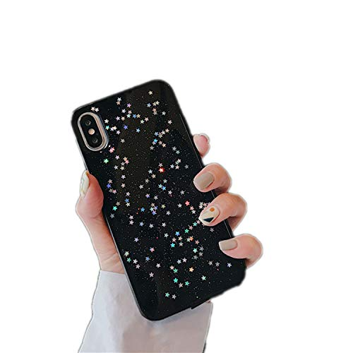 Luxury Glitter Phone Case for iPhone Xs XR XS Max Bling Star Silicone Soft TPU Cover for iPhone 6 6s 7 8 Plus X Case,Black,for iPhone 6 Plus