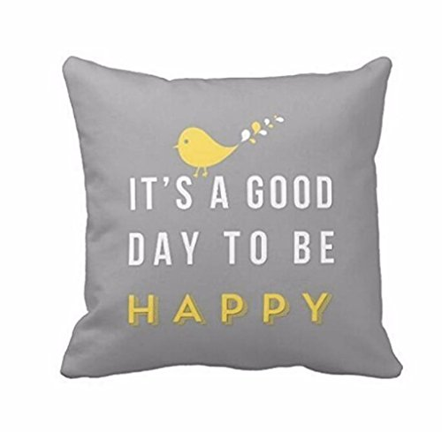 Gloous Yellow Bird Letter Square Throw Pillow Case Cushion Cover Home Decor(Size: 45cm45cm) (Gray)