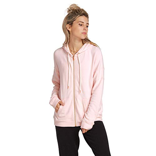 Volcom Junior's Women's Lil Zip Up Hooded Fleece, Blush Pink, Extra Extra Large