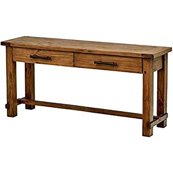 Amazon Com Long Entryway Table Wooden Brown Finish Color