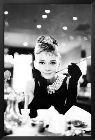 FRAMED Audrey Hepburn Movie (Breakfast at Tiffany's, With Cigarette) 36x24 Art Poster Print Wall Decor Hollywood - Hollywood Glasses With Actress