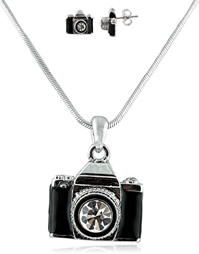 Combo of Silvertone with Black Camera Style Pendant Necklace and Matching - Pendant Camera Necklace