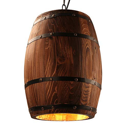 (Newrays Antique Wood Wine Barrel Pendant Lamp Hanging Rustic Unique Kitchen Bar Ceiling Lamp Light Fixtures (M))