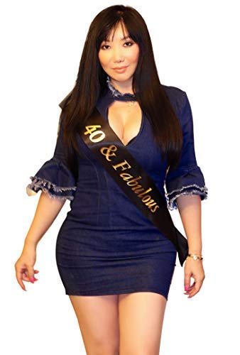 K&M Party 40 & Fabulous Birthday Sash | One-Size-Fits-All 40th Birthday Celebration Sash with Adjustable Clip | Gold Accented Writing and Premium Black Satin Birthday Sash