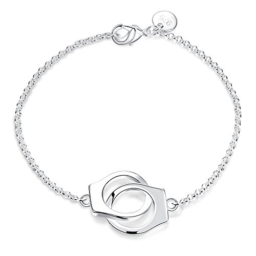 - BEMI Elegant Silver Handcuffs Linked Charms Bracelet Personality Bar Style Chain Bracelets for Women Handcuffs