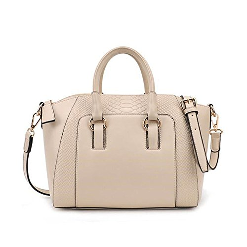 Handbags for Women Shoulder Tote Zipper Purse PU Leather Top-handle Ladies Bag (White)