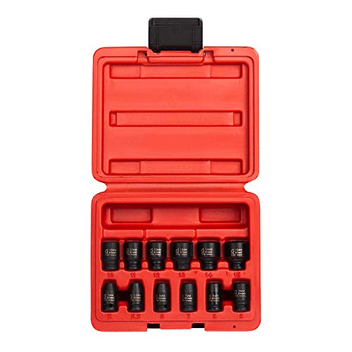 (Sunex 1822, 1/4 Inch Drive Magnetic Impact Socket Set, 12-Piece, Metric, 5mm-15mm, Cr-Mo Alloy Steel, Radius Corner Design, Dual Size Markings, Heavy Duty Storage Case)