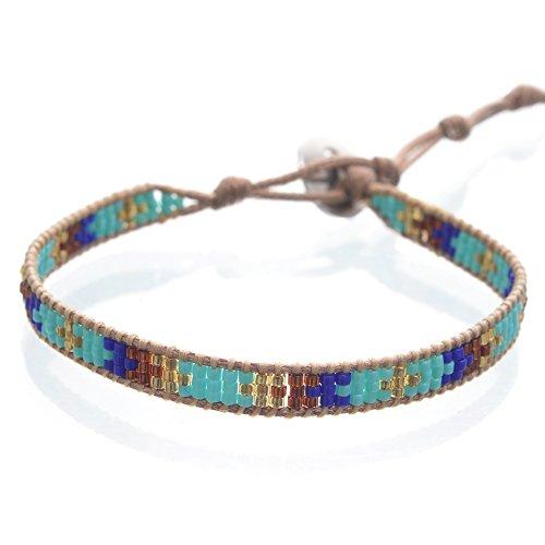 BeadChica Handmade Tribal Seed Bead Bracelet – Beaded Loom Bracelet – Adjustable (Color 5)