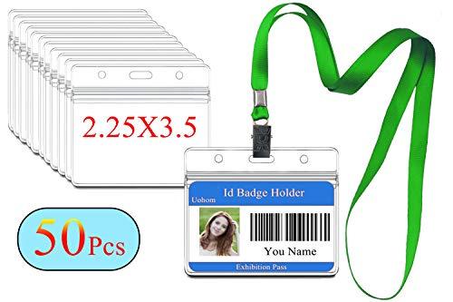 50Pcs Lanyard with ID Badge Holder Waterproof Horizontal Name Tags Card Labels Lanyards String Keys (Green) -