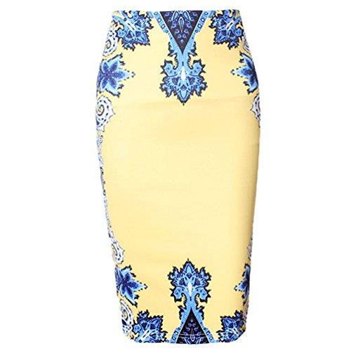 Weyeei Mujer Trapecio Falda Tulipán Elegante Midi Tubo Cóctel Moda Lápiz Faldas #9 Yellow