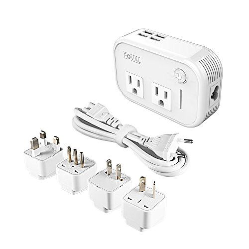 Foval Power Step Down 220V to 110V Voltage Converter with 4-Port USB International Power Travel Adapter in UK European Italy Asia etc, More Than 150 Countries over The World (European Tv)