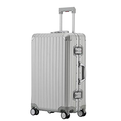 All Aluminum Hard Shell Luggage Hardside Suitcase With Spinner Wheels By Sindermore (Carbon Fiber Silver, 29 inch) ()