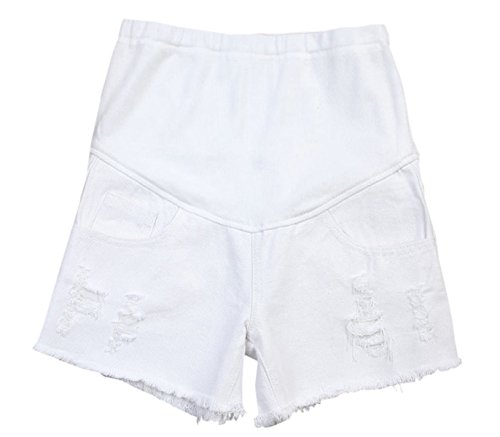 Women's Maternity Shorts, High Elastic Waist Denim Jean Shorts for Pregnant Women, White, Tag Size L = US S by Ameyda Womens