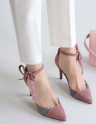 Stiletto 7CM Salbd Pink Shoes Sandals Pointed Lace Calaier up Women Toe qwpXF4U6