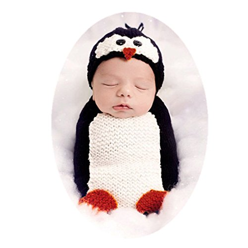 Coberllus Newborn Baby Photo Shoot Outfits Crochet Clothes Costume Knitted Hat Lovely Penguin Sleeping Bag Photography Props