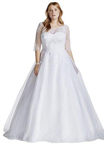 Tulle Plus Size Wedding Dress with Illusion Bodice Style 9WG3742 – 18 Plus, White