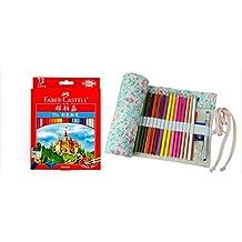 Raih 72 Colors Faber Castell Castle Oil Based Pencil and 72 Holes Pink Flower Canvas Wrap Set