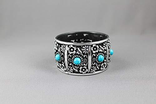 Silver Black Teal bracelet textured medallion plastic hinged bangle cuff -