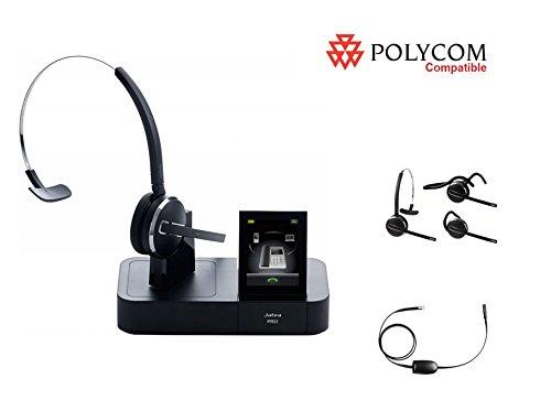 Polycom Compatible Jabra PRO 9470 Wireless Headset Bundle with Remote Answer EHS Cable for 335 430 450 500 501 550 560 650 670 VVX 101 VVX 201 VVX 300 VVX 310 VVX 400 VVX 410 VVX 500 VVX 600 VVX 1500