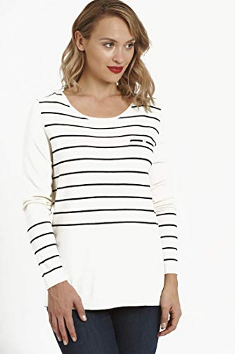 August Silk Year Round Long Sleeve Striped Sweater with Faux Back Placket Beige XL ()