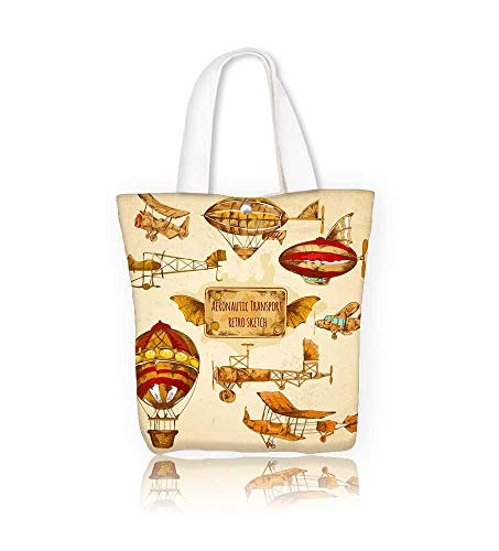 Canvas Tote Bags Vintage steampunk aviation colored sketch ative icons with zeppelin balloon and airplane isolated Design Your Own Party Favor Pack Tote Canvas W16.5xH14xD7 INCH