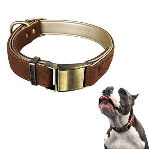 LEMON PET Puppy Comfy Soft Padded Classic Leather Dog Collar for Small Medium Large Dogs Collars - Durable Strong Adjustable Metal Buckle (L: 13.77-20.47in, Brown)
