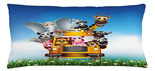 Lunarable Kids Throw Pillow Cushion Cover, Funny Animals on a School Bus Zoo Theme with Elephant Cow Zebra Lion Piggy and Giraffe, Decorative Square Accent Pillow Case, 36 X 16 Inches, Multicolor (Pillow Bus School)