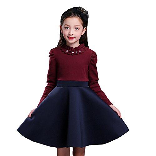 Winter Girl Plus Velvet Long-Sleeved Princess Skirt Wine -