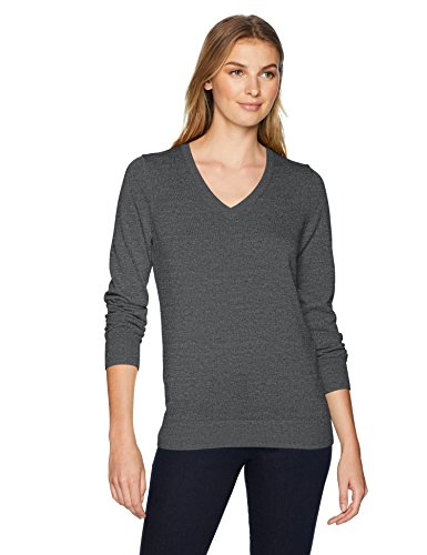 (Amazon Essentials Women's Lightweight V-Neck Sweater, Charcoal Heather,)