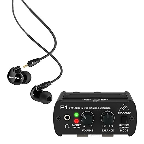 MEE audio M6 PRO Noise-Isolating Musician's In-Ear Monitors, Jet Black -INCLUDES- Behringer Powerplay P1 In-Ear Monitor Amplifier - Power Play Pro Headphone Amp