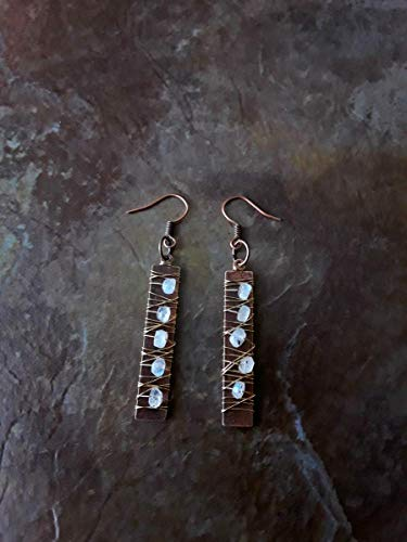 (Speckled Rainbow Moonstone Wire Wrapped Earrings Gold and Copper)