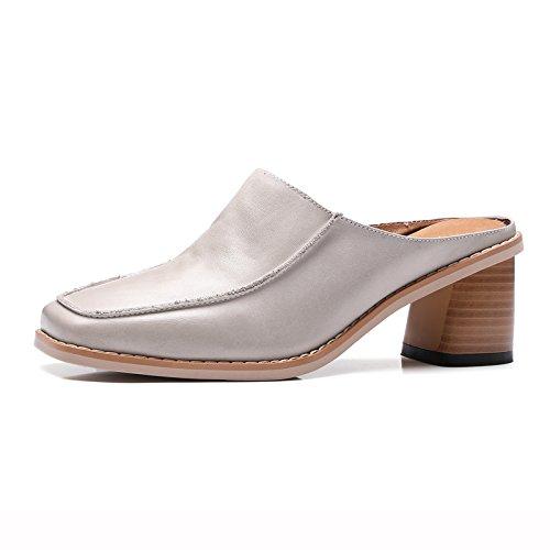 Qingchunhuangtang Heeled spessa scarpe Sandali Baotou High comode Ms gray pantofole Square 8STa0nr8x