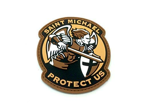 Saint Michael Protect Us Crusader Terra Scura Airsoft Patch PVC Toppa