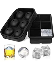 ShowTop Ice Cube Trays -Set of 2,Sphere Ice Ball Maker with Lid & Large Square Molds for Beverages Cocktails & Bourbon, Reusable and BPA Free