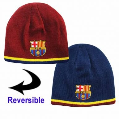 Reversible Beanie Knit Maroon (FC Barcelona Reversible Knitted Hat - Barca Beanie - Official Barcelona Product - One Size Fits Most - 100% Acrylic - Reversible Hat, One Side Blue, One Side Maroon - Both Sides Have FCB Team Crest)