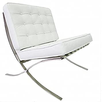 Furnwise Barcelona Chair   Premium Leather Inspired Mies Van Der Rohe  (White, Leather)