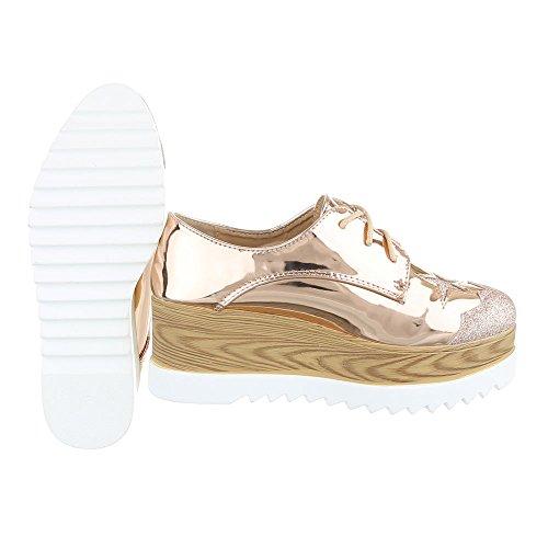 Ital-Design Schnürer Damenschuhe Schnürer Schnürer Schnürsenkel Halbschuhe Rosa Gold HH-90