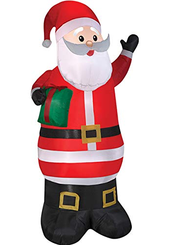 (Animated Airblown Santa with Present Gemmy Prop Christmas Decor Decoration)