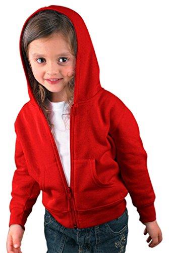 Rabbit Skins Toddler Zip Jersey-Lined Hooded Sweatshirt, Red, 2T