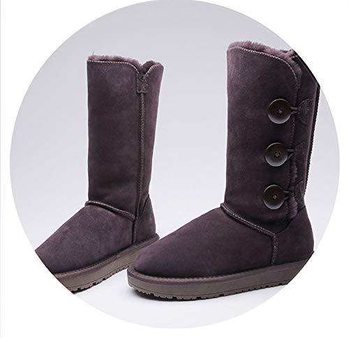 7b0bd088e462 Classic Women Boots Warm Winter Snow Boots Australia Genuine Leather Three  Button Long High Fur Boots