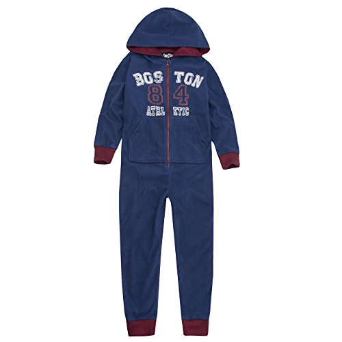 Suit Athletic Fleece (ONEZEE Kids Boys Athletic Jumpsuit - All In One Fleece Sleepsuit Pyjamas With Hood Navy 9-10)