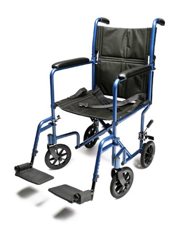 Everest & Jennings Aluminum Transport Chair with 5 Inches Swivel Casters, 19 Inches Seat, Blue