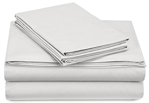 (Pinzon 300 Thread Count Percale Cotton Sheet Set - King, White)