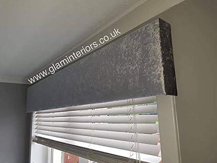 Silver Crushed Velvet Window Pelmet Grey Glitter Roller Blind