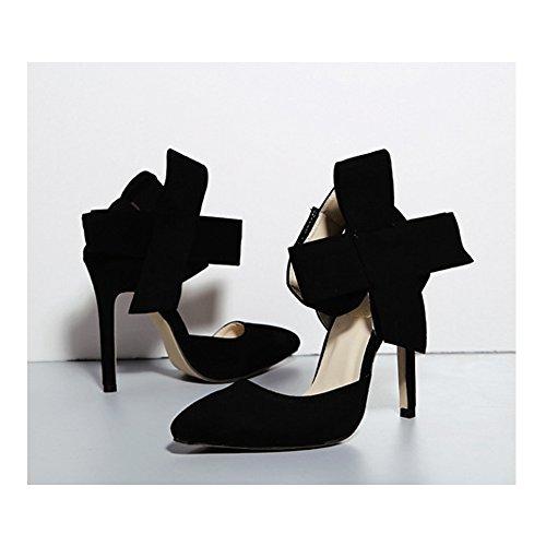 Noir en Chaussure SOIXANTE femmes bouts talon à velours aiguille pointu Escarpin vWww8dqR