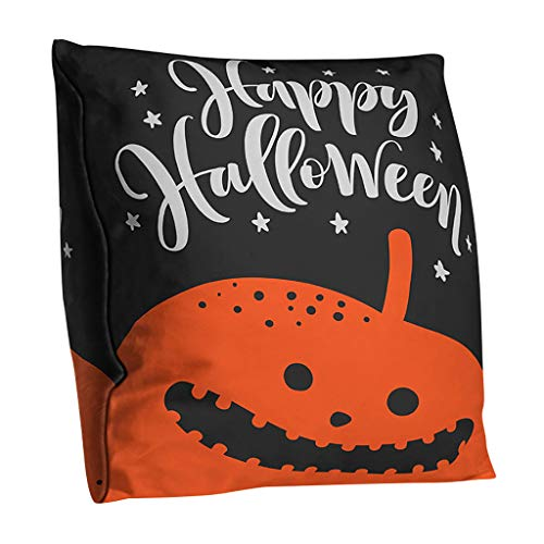 Shan-S Halloween Theme Pillowcase,Vintage Double-Sided Pumpkin Smiley Face Witches Crows Owl Polyester Cushion Throw Pillow Covers Home Decoration Car Sofa Couch Bedroom Bed 18