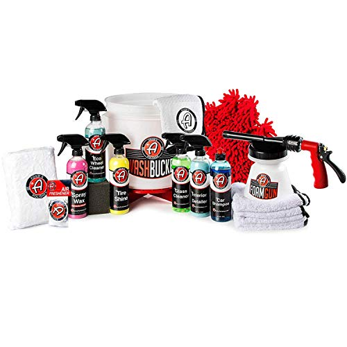 Adam's 17 Piece Arsenal Builder Wash Kit w/Foam Gun, Car Shampoo Soap, Microfiber Towels, Tire Applicator Sponge, Tire Shine, Glass Cleaner, Bucket - Cleaning Supplies for Car, Boat, RV & Motorcycle from Adam's Polishes